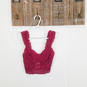 Free People Red Dream Away Lace Brami Cropped Top